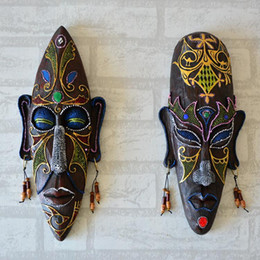 Wholesale Mask For Wall - African Mask Wall Hangings Medium Creative Personalized Wall Mural Home Bar Entrance Decorative Accessories Pendant Resin