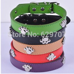 Wholesale Dog Collar Leather Paw - 10pcs Designer Pet Dog Collars Personalized Paw Studded Pu Leather Collar Mixed Colors Collars