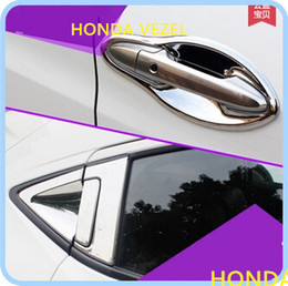 Wholesale Chrome Door Handle Cover Bowls - High quality ABS Chrome 4pcs Front door handle bowl+4pcs rear door handle cover+2pcs rear door handle bowl for Honda Vezel 2014