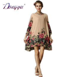 Wholesale Plus Summer Shift Dresses - Wholesale-Xxl Plus Size Women Clothing New Fashion Chiffon Summer Color Flower Print Casual Short Party Dress Shift 2015 Roupas Femininas