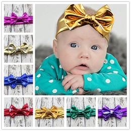 Wholesale Elastic Stretch Bows - 10color choose baby girl metallic headwear hair bows headband hot sale free ship Stretch elastic party take photo hair accessories