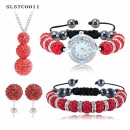Wholesale Shamballa Necklace Watch - Wholesale-Shamballa Set Bracelet Pendant Necklace Watch Earrings Shamballa Sets With 10mm Crystal Disco Balls Mix Colors Options SLSTCmix2