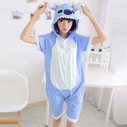 Wholesale One Piece Summer Pajamas - Wholesale- One piece Blue stitch Adult Pajamas sets summer Short sleeve Cartoon Animal Pajamas For Women Men Cosplay Costume