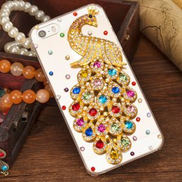 Wholesale Bling Crystal Cell Phone Case - For iphone 7 plus Transparent Crystal Peacock Hard Colorful Diamante Phone Cases Rhinestone Bling Cell Phone back cover for iphone 6s 5s