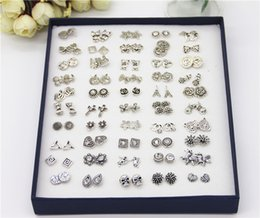 Wholesale Cheap Girls Studs - Vintage Silver Stud Earring Mix Design Anamil Flower Symbol Cheap Rhinestone Earrings For Girl 50pairs Box Cheap