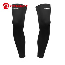 Wholesale Football Gear Men - Wholesale- ArbotLong Football Leggings 1 pair Lycra Breathable Compression Calf Sleeve Sports Knee Protector Gear for Men Cycling gaiters