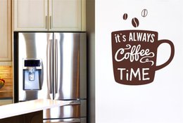 Wholesale Coffee Time - Vinyl Wall Sticker Quote Wall Decal Its Always Coffee Time Mural for Kitchen or Office