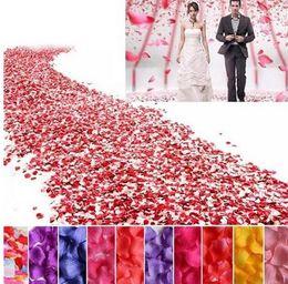 Wholesale Table Decor Purple - 20 Colors Silk Rose Petals Leaves Artificial Flowers Petals Wedding Decoration Party Decor Festival Table Decorative 50bag Lot (5000pc)G1213
