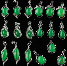 Wholesale Gems Jade - HOT 10pcs Tibet Silver Green Malay Jade Gem Pendant Necklace Girl Boy Bridal Jewelry for wedding engagement gift