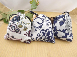 Wholesale Cheap Cotton Gift Bags - Cheap Blue and White Jewelry gift Bags Small Drawstring Cotton Cloth Packaging Pouches 50pcs lot mix color Free shipping