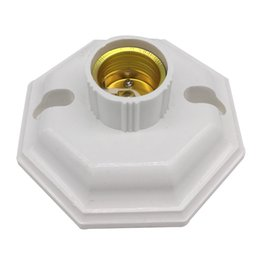 Wholesale Light Bulb Holder Fitting - E27 Holder LED Lights Flat Lamp Holder The octagonal Screw Cap Type Converter Socket Fitting LED Bulbs CFL White Induction Plastic
