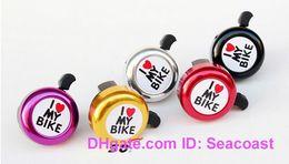Wholesale Bike Heart - 120pcs lot I Love My Bike Bicycle Cycling Handbar Mount Bells Horns Steel and Plastic Heart Horn Ring Bell