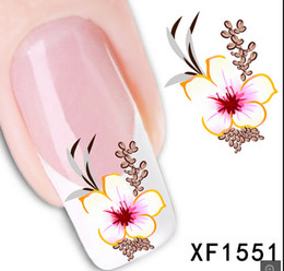 Wholesale Red Flowers Sticker - 1 Sheet New Arrival Water Transfer Nail Art Stickers Decal Beauty Red Flowers Design Manicure Tool (XF1551 D)