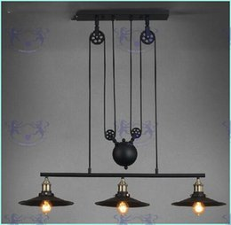 Polea de luz colgante ajustable online-Luces colgantes de elevación de polea de América del Loft América País Lámpara industrial pendiente vintage Vintage ajustable / contráctil Iluminación para el hogar