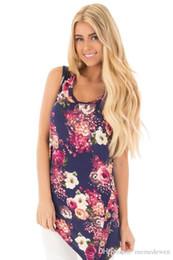 Gilets de rayonne en Ligne-Plus Size Tops Summer Rayon Laine de soie Chemise Femmes Top Réservoirs Réservoirs Long Floral T-Shirts Femmes T-Shirts Gilet Femme T-Shirt XZ-084