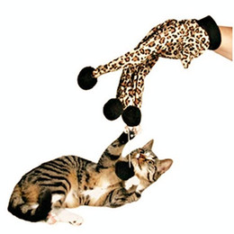 Wholesale Leopard Mittens - Pet Cat Plush Leopard Print Glove Kitten Teaser Toy Magic Glove Teasers Kittens Mitt Mitten with Pom Pom Balls
