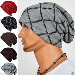 Wholesale Kentucky Derby Mens Fashion - Mens Slouchy Beanies Knit Cap Gridding Skull Winter Bonnet Hat 10pcs lot Free Shipping