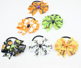 "Wholesale halloween baby hair bows - Happy Halloween hair bows clips spook Hair Tie Rope Bow Band cartoon 3"" baby pumpkin chevron Hair bobbles Elastic Hair Band PJ5287"