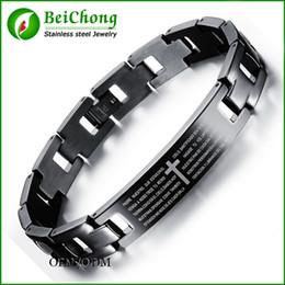 Wholesale Steel Cross Charms For Bracelets - BC Classic Line Bracelet For Men Black Stainless Steel Spanish Lord's Prayer Bible Cross Bracelet Bangle Wristband pulseira homens BC-158
