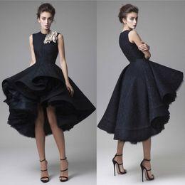 Wholesale Blue Crystal Hand - Krikor Jabotian Prom Dresses Hand Made Flower Jewel Neck Dark Navy Evening Dress Knee Length Party Gown Sleeveless Ball gown Formal Dress