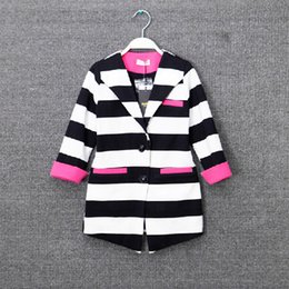 Wholesale Striped Jacket Girls - Wholesale new 2015 girls Outwear korean leisure style cotton stripe kids business suit 7 points sleeve Long coat 5pcs lot 5-12age ab240