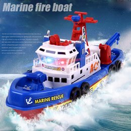 Wholesale Rescue Boats - Children's model toy electric Marine Rescue music light water running on water birthday present Christmas gift