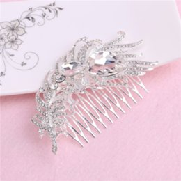 Wholesale Flower Hairstyles - Luxury Wedding Hair Accessories With Rhinestone 2016 Fashion Flower Headbands Hairstyles For Women Girls 30 Pce Per Lot Combs 10 * 6cm