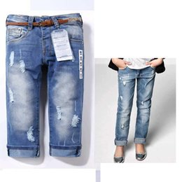 Wholesale Overalls Belt - New Arrival Jeans Kids girls Jeans for Children Overall Fashion Brand High quality Blue girls Destroyed jeans Free with belt