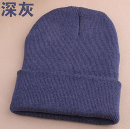 Wholesale Wholesale Cuffed Beanies - Wholesale-New 2015 10 Colors Plain Beanie Knit Ski Cap Skull Hat Warm Solid Warm Cuff Blank Beany