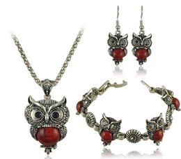 Wholesale Owl Earrings China - Summer Style Jewelry Sets Tibet Silver Vintage Turquoise Owl Pendant Necklace Earring Bracelet Jewelry Set For Women DS