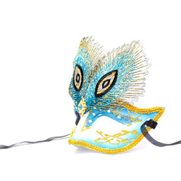Wholesale Peacock Feather Masquerade Masks - Wholesale-Color Painted Peacock Feathers Mask Charming Party Masquerade Masks, 2015 Hot Female Party Ball Mask A904
