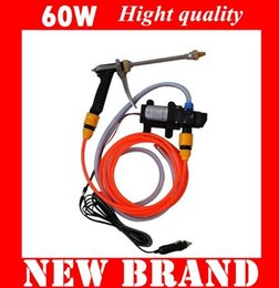 Wholesale Electric Car Wash Device - Electric car wash device portable high pressure car washer machine watertool 60w pump wishing product set kit tools equipment wholesale free