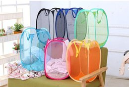 Wholesale Eco Mesh Bag - Mesh Fabric Foldable Pop Up Dirty Clothes Washing Laundry Basket Bag Bin Hamper Storage for Home Housekeeping Use Storage Baskets 2016 Style
