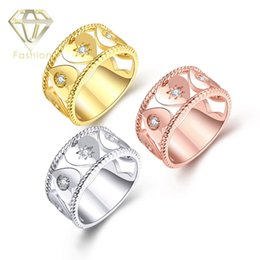Wholesale Alternative Ring - Alternative Engagement Rings New Delicate 18K Rose White Gold Plated Hollow Heart with AAA+ Cubic Zircon Diamond Rings Jewelry