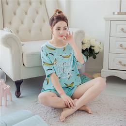 Wholesale Ladies Cotton Pajamas Xl - Wholesale- New listing Summer women's knitted cotton pajamas set ladies short sleeved sleepwear female shorts cute cartoon M L XL 2XL 3XL