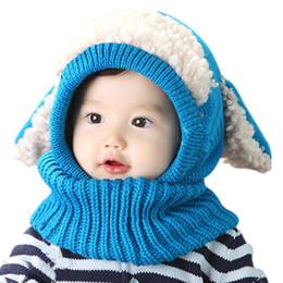 Bufanda de conejo de punto online-2016 Hot Winter Baby Hat y Bufanda Conjunta de orejas de conejo Animal Crochet Knitted Caps para Bebés Niños Niñas Niños Caliente Sombreros