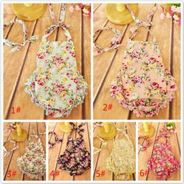 Wholesale Cotton Christmas Jumpers - 6 colors 2016 baby Floral Romper Sets with Headbands Flower printed floral ruffled backless Romper girls clothes baby's JumpSuit jumper