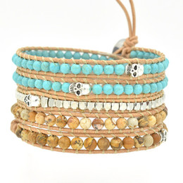Wholesale Colorful Skull Bracelets - 2015 New 6mm blue turquoise and copper bead Skull wrap bracelet new design Colorful Bohemian Style Elasticity Handmade Stone Beads Bracelet