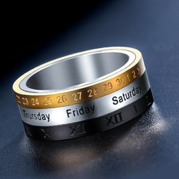 Wholesale Steel Time Jewelry - Titanium Steel Tricolor Calendar Time Wedding Ring Men's Fashion Jewelry Band Gift Time to turn the wholesale ring