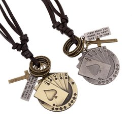 Wholesale Cheap Pendants For Men - Hot Statement Necklaces Personality Nation Retro Leather Woven Alloy Poker Pendants Necklace Cheap Charms necklace Jewelry for men women