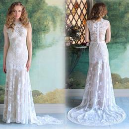 Wholesale Cheap Turkeys - 2018 Summer Beach Boho Full Lace Sheath Wedding Dresses Jewel Covered Button Country Turkey Bridal Gown 2017Simple Cheap vestido de noiva