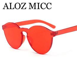 2018 caramelo pc ALOZ MICC Diseñador de la marca Mujeres Cat Eye Gafas de sol de lujo Hot Candy Color Integrated Eyewear UV400 A384 caramelo pc baratos