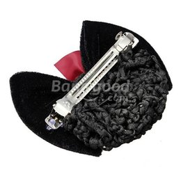 Wholesale Hair Clips Netting - Wholesale-cheaprime Crystal Grosgrain Bow Bowknot Barrette Hair Clip Snood Net
