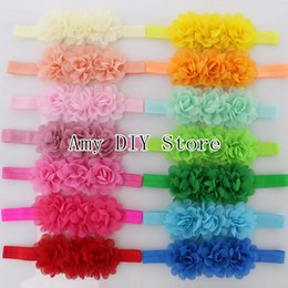 Wholesale Headbands Free Ems - EMS Free Shipping 200pcs lot Baby Charlotte Tulle Puff Flowers Headbands,Kids Boutique Chiffon Flowers Hairband Hair Accessories
