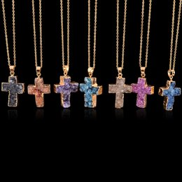 Wholesale Blue Turquoise Stone Necklace - Drusy pendant necklaces Christian cross natural stone pendant blue pink green drusy cluster jewelry for valentine's gift bulk