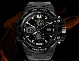 Wholesale Plastic Swim - SKMEI SK0990 men's GMT dual display watch, analog digital relogio waterproof swim wristwatch, led military watch, gift watch for men