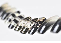 Wholesale Long Full Cover Nails - Wholesale-24PCS Japanese Stylish Full Cover nails Gloden Star Shining False Nail tip Decoration bride nail Party nail art design tips long