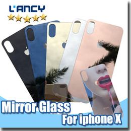 Wholesale Screen Protector Front Back - Gold Mirror Effect Colored Tempered Glass For iphone X 8 Colorful Screen Protector Front and Back High Quality Explosion Proof