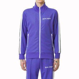 Wholesale angels jackets - Palm Angels Jacket Fashion Old School Sports Track Jackets Men Women Striped Zip Hoodie Coat Brand Tracksuits Purple Black PXG1108