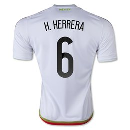Wholesale Cheap Shirts For Soccer - Mexico 2015 H. HERRERA #6 Away White Soccer Jersey,Cheap Mexico Jersey Shirts for Sale,Customized Thai Quality 15-16 Soccer Jerseys